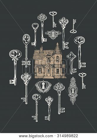 Vector Banner With Vintage Keys, Keyholes And Old House In Retro Style. Hand-drawn Illustration On T