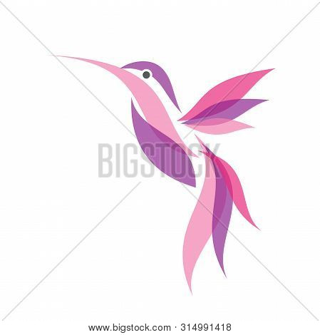 Colorful Fliying Hummingbird Icon Symbol In Flat Style. Hummingbird Vector Symbol For Element Design