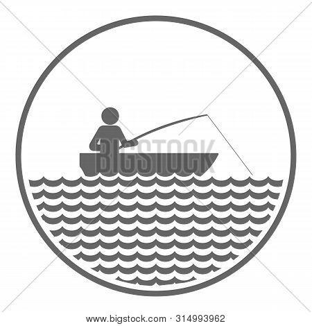 Fishing Icon. Angler On Motor Boat. Vector Icon.