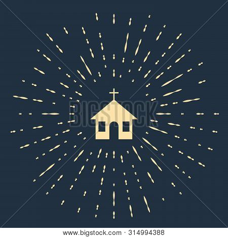 Beige Church Building Icon Isolated On Dark Blue Background. Christian Church. Religion Of Church. A