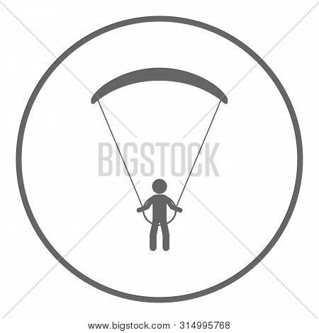 Paraglider Icon. Paragliding Symbol. White Background. Vector.