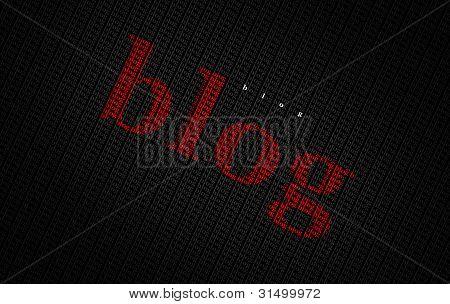Typography blog word concept on dark background.