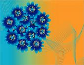 A Blue Bouquet is Featured in an Abstract Floral Vector Illustration. poster