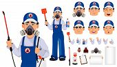 Pest control worker in protective workwear with pesticide sprayer, pack of emotions, body parts and things. Handsome cartoon character. Pest Control Services concept. Vector illustration poster