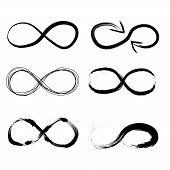 Infinity symbol. Eternal, limitless emblem. Black mobius ribbon silhouette. poster