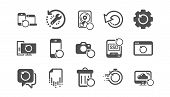 Recovery icons. Backup, Restore data and recover file. Laptop renew, drive repair and phone recovery icons. Classic set. Quality set. Vector poster