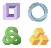 many bright abstract optical illusion symbols vector poster