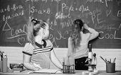 Fascinating science. Educational experiment. Girls classmates study chemistry. Microscope test tubes chemical reactions. Pupils at chalkboard chemistry lesson. Laboratory practice. Chemistry classes poster