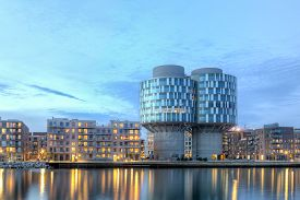 Copenhagen, Denmark - March 12, 2017: Evening View Of The Portland Towers, Two Silos Converted Into