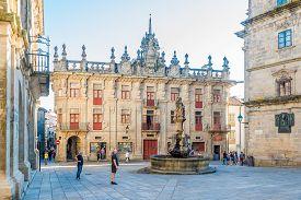Santiago De Compostela,spain - May 14,2019 - Cabildo Building At The Cabalos Place In Santiago De Co
