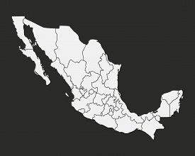 Mexico Map With States Isolated On A Black Background. Mexico Map. Vector Illustration