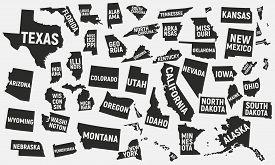 Set Of 50 United States Icons. United States Of America Icons Isolated On White Background. Vector I