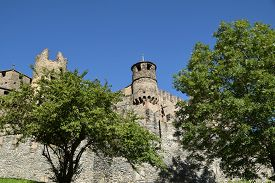 View Of The Castle Of Fenis In Aosta Valley - Italy