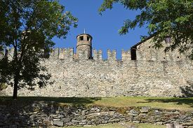 The Mighty Walls Of The Castle Of Fenis In Italy