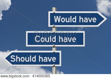 Would Have Could Have, Should Have Message On Blue Highway Road Sign With A Clear Blue Sky 3d Illust