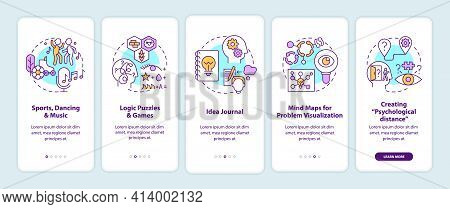 Boosting Problem Solving Skills Tips Onboarding Mobile App Page Screen With Concepts. Mind Exercise
