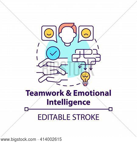 Teamwork And Emotional Intelligence Concept Icon. Workplace Cooperation. Communication Strategy. Pro