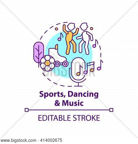 Sports, Dancing And Music Concept Icon. Recreational Activity, Improve Creative Thinking. Problem So