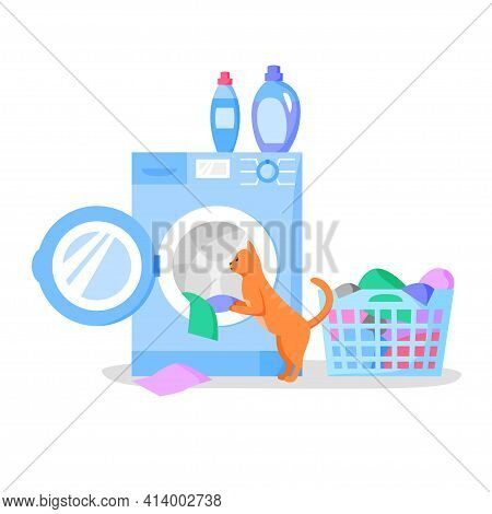 Cat Looking In Open Washing Machine, Laundry Basket With Clothes, Bottles With Liquid Detergents, Ve