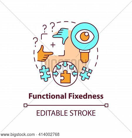 Functional Fixedness Concept Icon. Cognitive Bias. Limit In Critical Thinking. Mental Block Problem