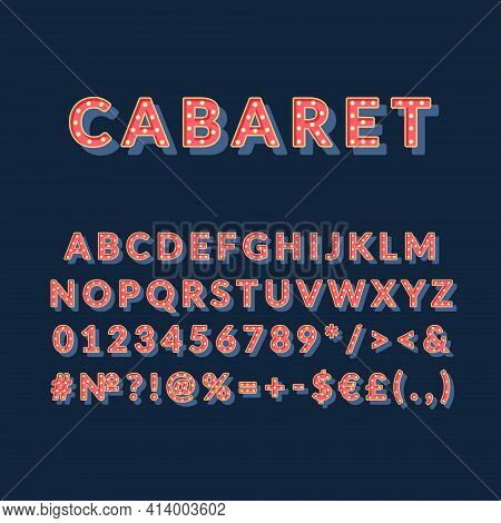 Cabaret Vintage 3d Vector Alphabet Set. Retro Bold Font, Typeface. Pop Art Stylized Lettering. Old S