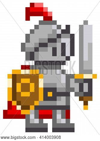 Vector Pixel-game Character. Illustration Of Pixelated Man With Shield And Sword On White Background