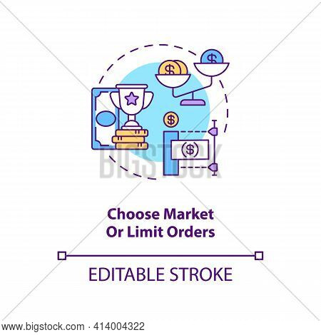 Choosing Market And Limit Orders Concept Icon. Stock Trading Step Idea Thin Line Illustration. Preva
