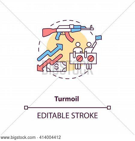 Turmoil Concept Icon. International Stocks Challenge Idea Thin Line Illustration. Global Economic Re
