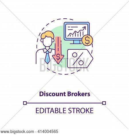 Discount Brokers Concept Icon. Broker Type Idea Thin Line Illustration. Financial Operations Through