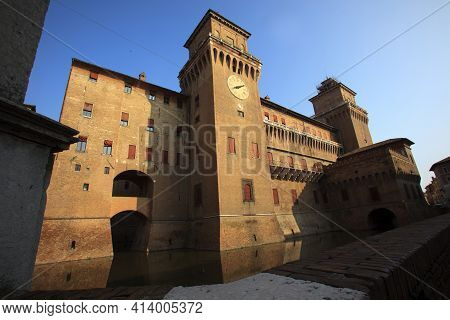 Ferrara (fe), Italy - June 10, 2017: The Estense Castle In Ferrara, Emilia Romagna, Italy