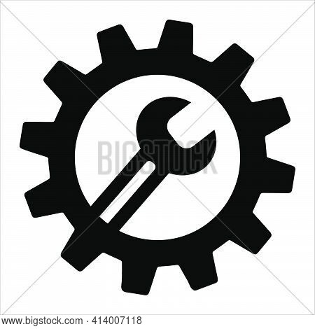 Simple Spanner On Gear Isolated On White Background. Icon For Apps And Websites. Flat Style