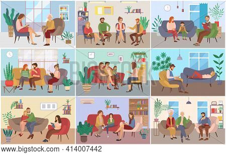 A Set Of Pictures About Psychotherapy Sessions. People Are Sitting At The Reception Of A Specialist