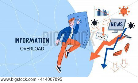 Information Overload Website Interface Design With Business Man Holding Shield Protecting Himself Fr