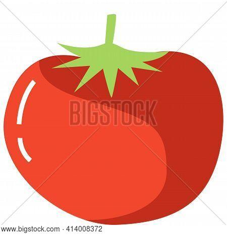 Fresh Tomato Organic Salad Ingredient. Red Tomato In Flat Style Isolated On White, Vegetarian Fruit