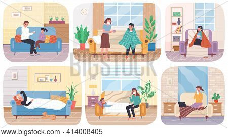 Set Of Illustrations About Home Treatment. People Suffer From Illness. Parents Take Care Of Children