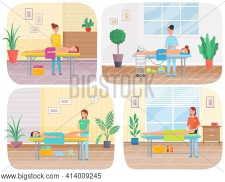 Set Of Illustrations About Massage Making. Masseur Working With Clients And Gives Massage