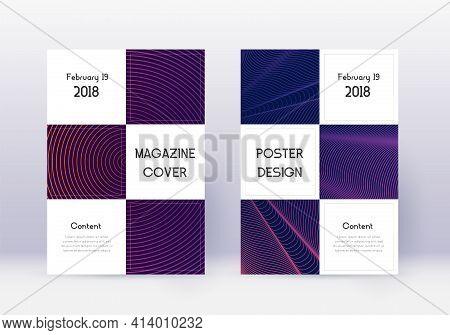 Business Cover Design Template Set. Violet Abstrac