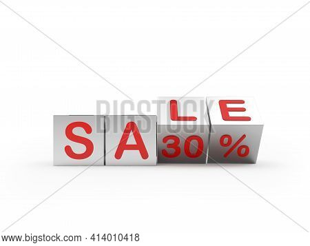 Silver Cubes With The Word Sale Thirty Percent Are Scrolled. 3d Illustration
