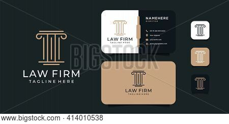 Luxury Modern Law Firm Justice Logo And Business Card Design Vector Template. Logo Can Be Used For I