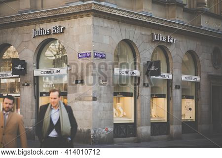 Zurich, Switzerland - MARCH 21, 2019: Bank Julius Baer in the Swiss financial center. Julius Baer Group is a Swiss private banking group, which offers mainly wealth management
