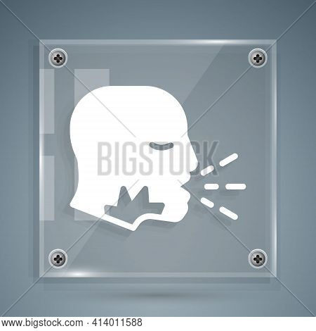 White Man Coughing Icon Isolated On Grey Background. Viral Infection, Influenza, Flu, Cold Symptom.