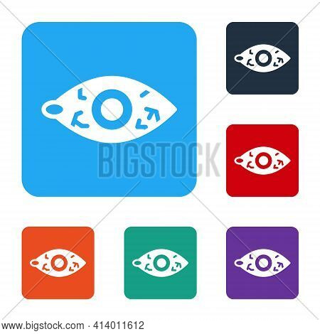 White Reddish Eye Due To Viral, Bacterial Or Allergic Conjunctivitis Icon Isolated On White Backgrou
