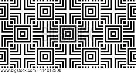 Bauhaus Seamless Background   Repeating Black And White Geometric Pattern   60s Mod Design   Art Dec