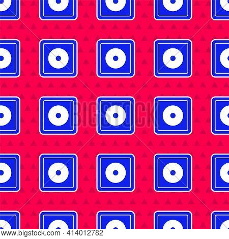Blue Billiard Chalk Icon Isolated Seamless Pattern On Red Background. Chalk Block For Billiard Cue.