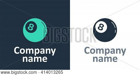 Logotype Billiard Pool Snooker Ball With Number 8 Icon Isolated On White Background. Logo Design Tem