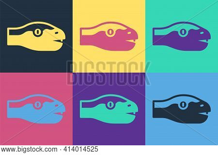 Pop Art Snake Icon Isolated On Color Background. Vector