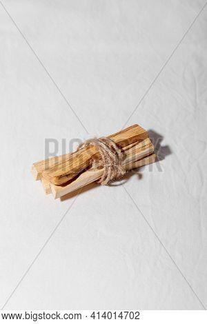 Palo Santo Holy Wood Sticks On White Background. Spiritual Practices Concept