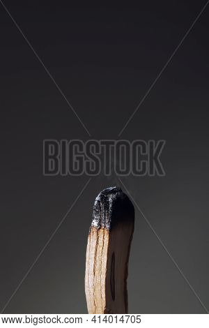 Burning Palo Santo Stick On Dark Background Close-up. Antistress And Relaxation Ritual Concept