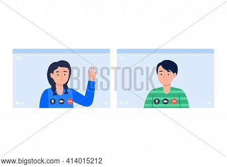 A Boy And A Girl Talk On A Video Call. Virtual Communication With Friends, Classmates. Vector Flat I