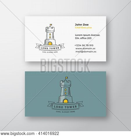 Lone Tower Abstract Modern Vector Logo And Business Card Template. Stronghold With A Flag And Typogr